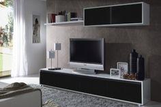 Habitdesign - Mueble de comedor moderno TV, color blanco y negro brillo ✿ ▬► Ver oferta: https://cadaviernes.com/ofertas-de-mueble-de-comedor-moderno/