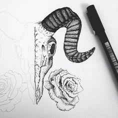ram skull tattoo stippling - Google Search: