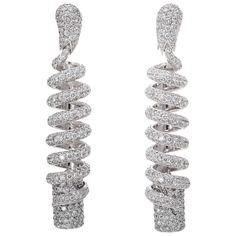 de Grisogono Spiral Diamond Earrings | From a unique collection of vintage dangle earrings at https://www.1stdibs.com/jewelry/earrings/dangle-earrings/