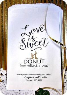 Custom wedding donut bags - wedding reception - donut bags - donut bar - donut…