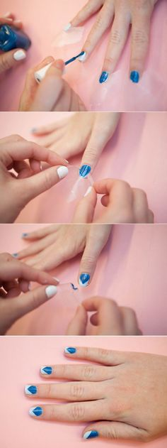 Love this design-so easy! Plus a great webpage---Tricks for Painting Nails - Nail Art Hacks