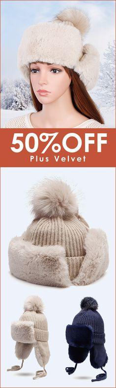 Women Earmuffs Plus Velvet Knit Trapper Hat Outdoor Thicken Ear Protection  Ski Hunting Hat abb51da9ebf3