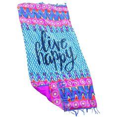 Live Happy Beach Towel Blankets LAVELIQ