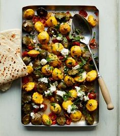 Anna Jones's roast agrodolce summer squash | courgettes tomatoes capers goats cheese