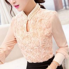 New style Plus size Women Chiffon blouse Sexy Flower Beaded lace Tops long sleeved Casual shirt Patchwork Women clothing S-3XL