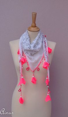 BOHO-Turkish - Neon Pink scarf- OYA scarf-Yemeni Anatolian-Ethnic-floral scarf-Handmade crochet oya, traditional Turkish Fabric scarf