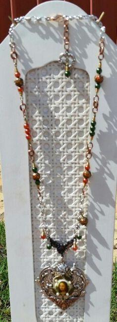 December Challenge Mixed Metals Media Mona's Heart Necklace