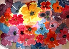 Pansies - Watercolour painting by Tjaša Kuerpick