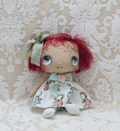 Cute little cloth doll red hair by suziehayward on Etsy, $59.00