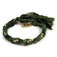 Gold Braided Vintage Fuchsia Ribbon and Rhinestone Crystal Bracelet #ettika #rocker #rockandroll #jewelry #accessories  #boho #bracelet #spike