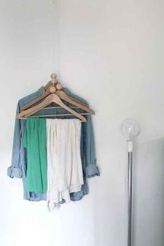 More corner tricks: Hang some hangers.