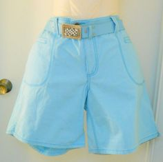 Faded Glory Blue Shorts NWT Plus Size 20W New Rhinestone Belt Buckle 100% Cotton #FadedGlory #CasualShorts