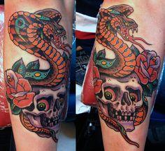 Cobra and Skull Tattoo