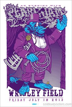 PEARL JAM - 2013 Ames Bros. Purple Gurilla/monkey poster print wrigley – Sold Out Posters