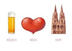 Postkarte: Kölsch - Köln - Dom