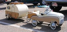 Two-Tone Pedal Car with matching Tear Drop Camper