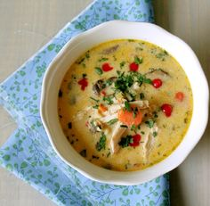 Sweet, salty and limey with a bit of spice make for a very good Thai Chicken Soup!