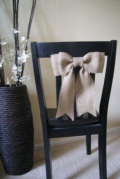 Burlap Bow Chair Decor