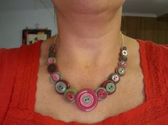 tutorial for button necklace. I made it and it turned out really nice, now I just have to find an outfit to wear it with :)