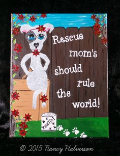 Pit Bull Painting Dog Rescue Art Pit Bull Art Dog by TheRescueMama