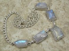 TOP GEM QUALITY TWILIGHT RAINBOW MOONSTONE NECKLACE-FLASHES-WOW!~FREE SHIPPING-PHOTON!~