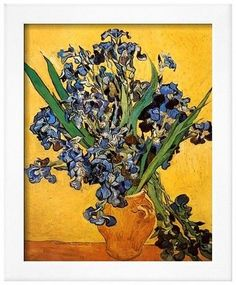 Art.com Vase of Irises Against a Yellow Background, c.1890 by Vincent van Gogh