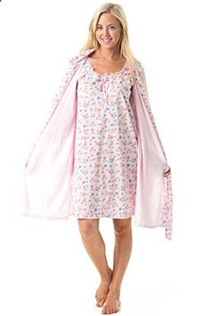 Casual Nights Women s 2 Piece Robe and Nightgown Set Floral Print With Lace  Trim Pink Large 1bf6c9604