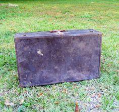 Vintage Metal Suitcase Travel Decor Metal by CnCVintageFinds