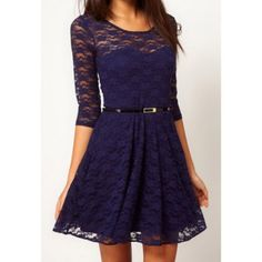 Charming Scoop Collar Solid Color Hollow Out Half Sleeve Pleated Lace Dress For Women, PURPLE, L in Dresses 2013 | DressLily.com