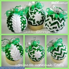 Green and White Polka Dot Quilted Christmas Balls