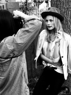 Tasya van Ree snapping Carrie Tivador in black & white