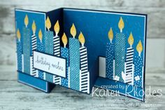 Karen's Craft Cafe: Birthday candles Double Z Fold Card using Stampin Up Build a Birthday