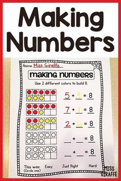 Making numbers Part Part Whole, Number Sense Activities, Number Bonds, Learning Numbers, First Grade Math, Kindergarten Activities, Math Centers, Small Groups, Kids Learning