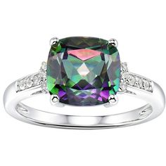 Sterling Silver Mystic Fire Topaz & Lab-Created White Sapphire Ring,... ($130) ❤ liked on Polyvore featuring jewelry, rings, green, topaz jewelry, cushion cut ring, sterling silver jewellery, sterling silver rings and green topaz ring