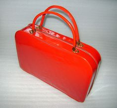 Vintage Lipstick Red Tolin Mfg Co.Vinyl Purse Cosmetic Travel Make Up Hand Bag #Tolin