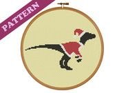 Christmas Dinosaur Raptor Santa Cross Stitch Pattern, Easy, Instant PDF Download