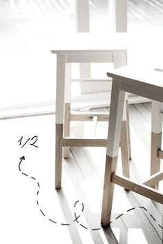 *white seats, exposed wood legs