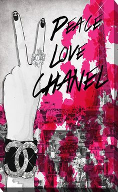 Peace, Love, Chanel by BY Jodi Textual Art on Wrapped Canvas