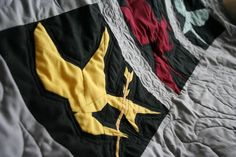 I have been so excited to tell you about this quilt! I had always planned to sew a quilt for Dustin. Something to keep him warm in the w. Hunger Games 3, Hunger Games Trilogy, Nike Jacket, Bomber Jacket, Quilting Room, Amazing Art, Artsy, Fandom, Warm