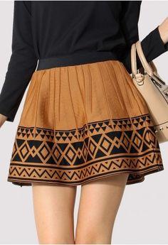 aztec patterned skirt.