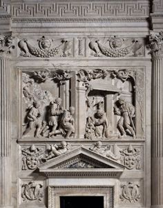"""There are 610 square meters of marble covering the walls of the Holy House in Loreto, and it took seventy years to decorate them. After Julius II died in 1513, the new Pope Lion X entrusted Andrea Sansovino with creating a cycle dedicated to """"The Glories of the Madonna's Life on Earth""""  Link to see sculptures: http://www.italianways.com/marys-glory-in-loretos-holy-house/"""
