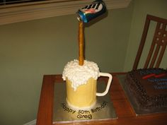Beer Mug Cake - I have to do this - but not sure how to get the beer can attached to the dowel...any comments?