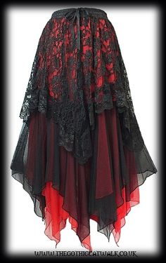 Black Lace & Red Chiffon Long Gothic Skirt