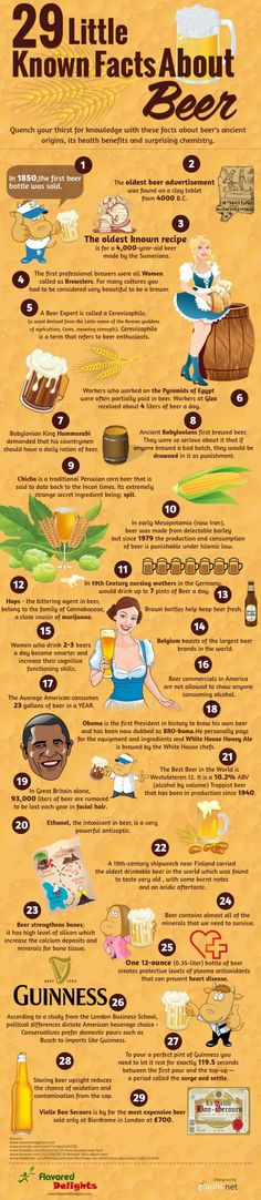 "October 27 is National American Beer Day (which sort of begs the question, why would it be anything other than ""National,"" but we digress)! 29 interesting facts of beer. More Beer, All Beer, Wine And Beer, Erdinger Beer, Beer Brewing, Home Brewing, Beer Infographic, Beer Tasting Parties, American Beer"