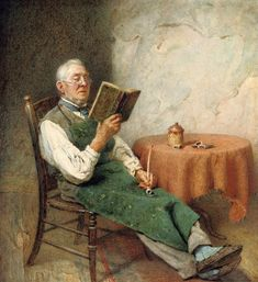 A lover of Dickens. Charles Spencelayh (English, Pencil and watercolour, with gum arabic. The watercolour of the man, likely a plasterer, reading Dickens is a perfect example of. People Reading, Book People, Reading Art, I Love Reading, Expositions, Lectures, Illustrations, I Love Books, Beautiful Paintings