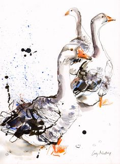 Austin Inspiration: Geese  Original Loteria Card: The Rooster (El Gallo)  Geese mixed media painting by Lucy Newton
