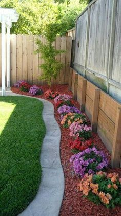 creates no grass growing up tall around the fence and creates bright colors