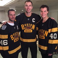 "nhlbruins: ""David Krejci, Zdeno Chara & Tuukka Rask right before unveiling their #WinterClassic jerseys! #BackOutdoors #NHLBruins �"