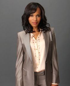 TV Fashion * Show: Scandal * Actress: Kerry Washington * Character: Olivia Pope * Suit: Paul Smith * Shell: Armani  Like this suit a lot.