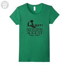 Womens QUEENS ARE BORN IN AUGUST, BIRTHDAY GIFT (B2) T-SHIRT Small Kelly Green - Birthday shirts (*Amazon Partner-Link)